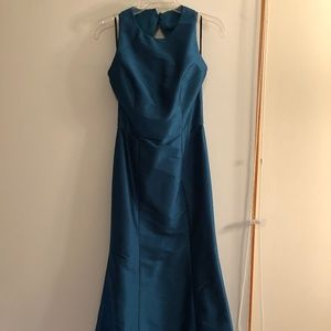 Alfred Sung long teal bridesmaid dress with bow